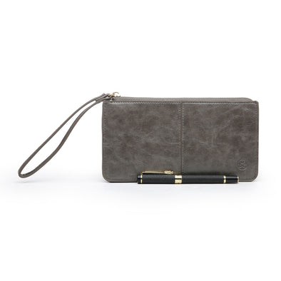 Just For Tonight Grey Evening Purse With Wrist Strap