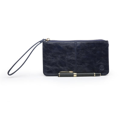 Just For Tonight Navy Blue Evening Purse With Wrist Strap