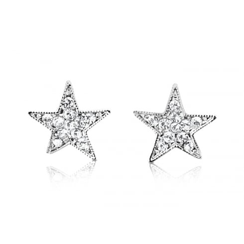 Small silver star earrings studs with crystal centres for sensitive ears
