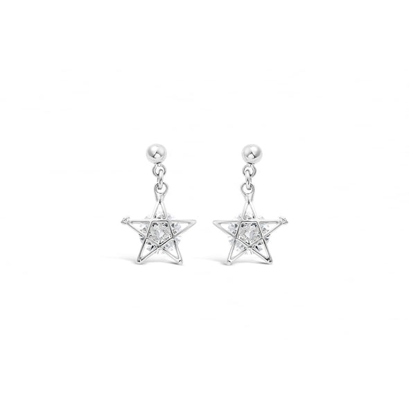 small delicate crystal silver drop earrings. Three small balls suspend a crystal star made up of silver outer and crystal stone in the centre.