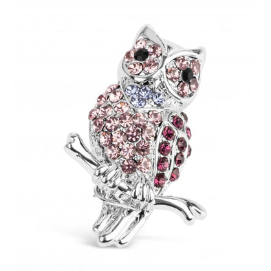 Pretty Pink and Purple Crystal Owl Brooch