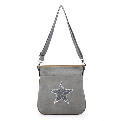 Explorer Cross Body Star Canvas Bag Grey