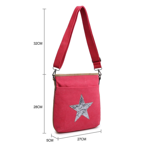 BEST SELLER - Explorer Cross Body Small Travel/Days Out Canvas Handbag with Star Motif