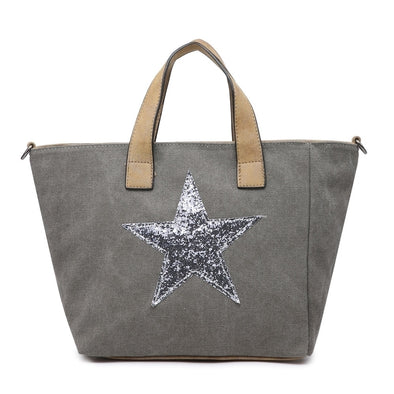 Sequin Star Canvas Tote Handbag in Dark Grey