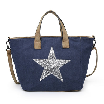 Sequin Star Canvas Tote Handbag in Navy Blue