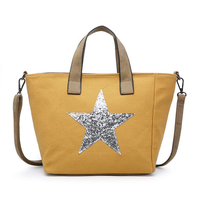 Sequin Star Canvas Tote Handbag in Mustard
