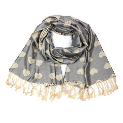 Grey and Gold Love Heart Soft Pashmina Scarf