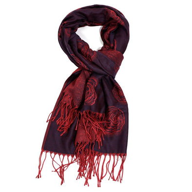 Rose Design Deep Purple and Crimson Soft Pashmina Scarf