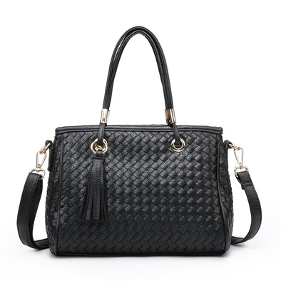 Working Girl Black Weave Tassel Handbag
