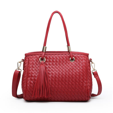 Working Girl Red Weave Tassel Handbag