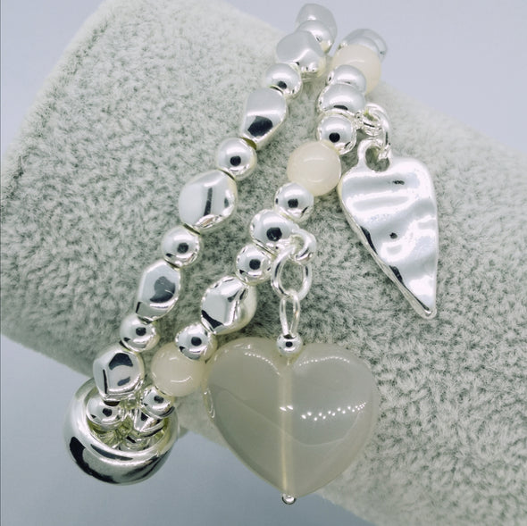 Silver Agate Love Heart and Bead Elasticated Double Bracelet - Nickel Safe