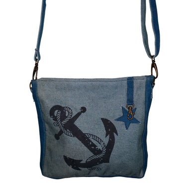 Recycled Navy Cross Body Anchor Travel Bag