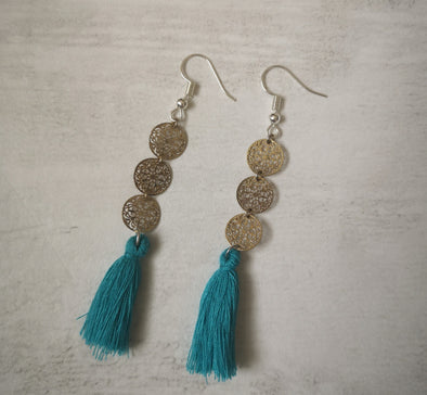 Aqua disc tassel long drop earrings