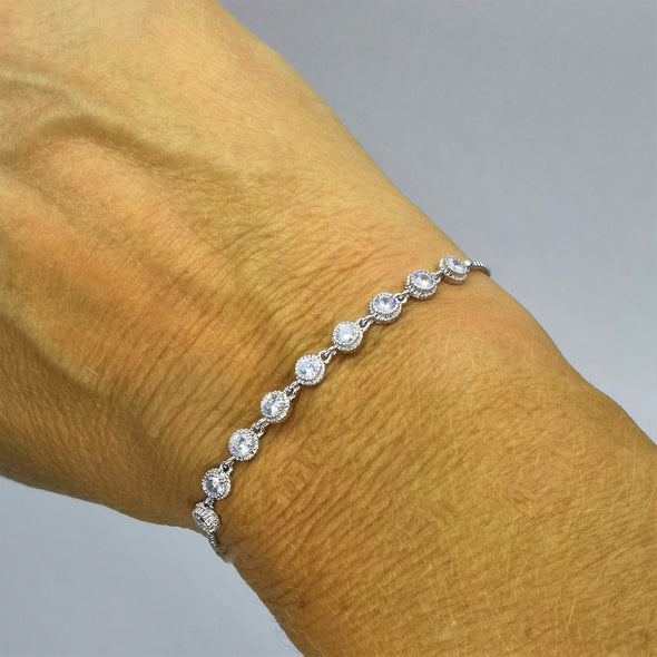 cubic zirconia and rhodium plated friendship bracelet with free gift box