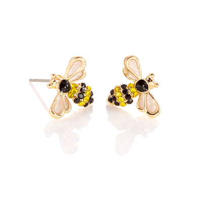Bee stud earrings gold colour for pierced ears
