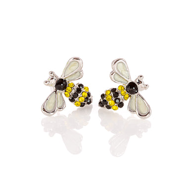 Bee stud earrings silver colour for pierced ears