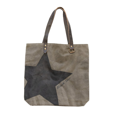 Grey and Black Star Canvas Recycled Tote Bag