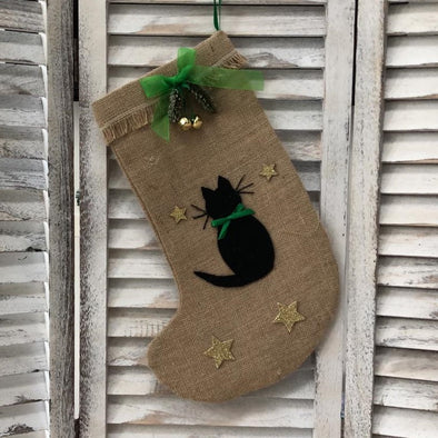 Black Cat Christmas Stocking with Green Bow
