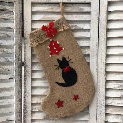 Black Cat Christmas Stocking with Red Bow