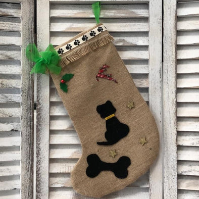 Black Dog Christmas Stocking with Green Bow