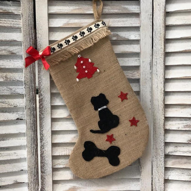 Black Dog Christmas Stocking with Red Bow
