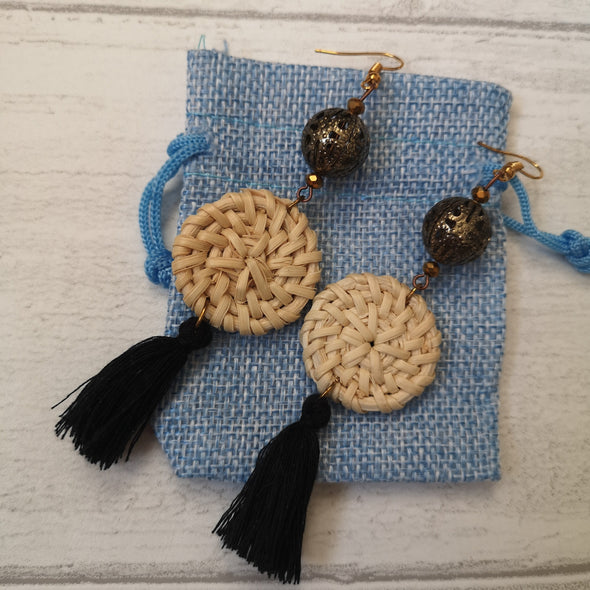 Black Vintage Style Boho Rafia and Tassel Earrings