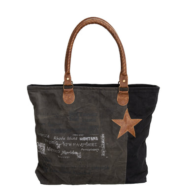 Dark Grey and black recycled military cotton canvas large tote, shopping bag with real leather brown trim and brown star and white vintage writing