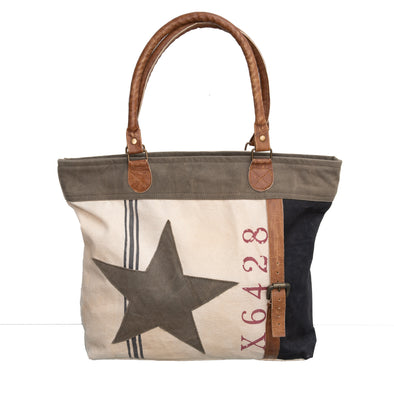Cream, Khaki and Black Recycled Military Canvas Tote Bag with Leather Trim