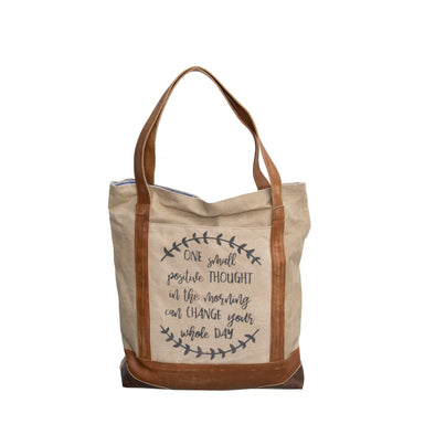 Dark Cream Recycled Military Canvas Tote Bag with Leather Trim and Motivational Quote