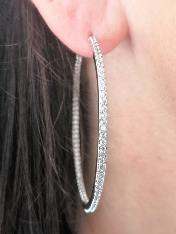 cubic zirconia and rhodium plated hoop earrings with free gift pouch