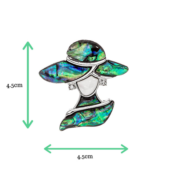 Abalone lady in hat with crystal earrings size