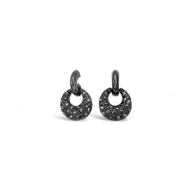 Crystal encrusted hoop gun metal stud earrings for pierced ears