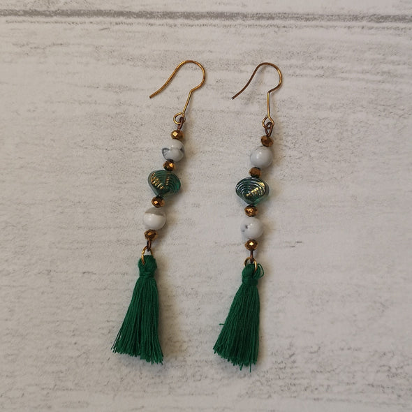 Emerald green bead and tassel vintage style statement earrings 2