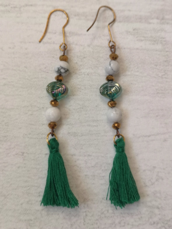Emerald green bead and tassel vintage style statement earrings