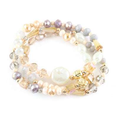 Fresh water pearl and glass crystal bracelet