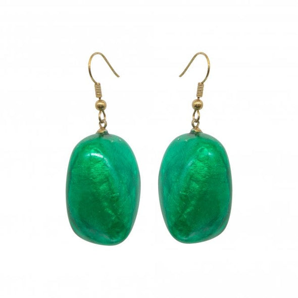 Green toned resin bead earrings