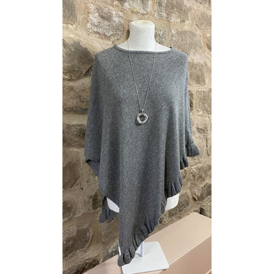Cashmere Mix Slate Grey Poncho - AVAILABLE TO PRE ORDER NOW