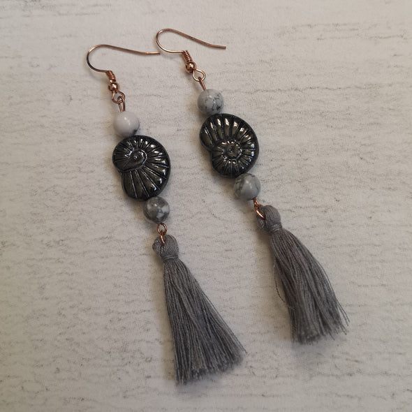 Grey vintage fossil shell and tassel statement earrings