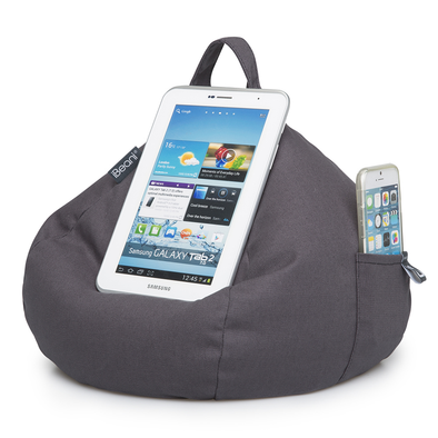 iBeanie digital beanbag showing iPhone device standing or resting on it in grey fabric