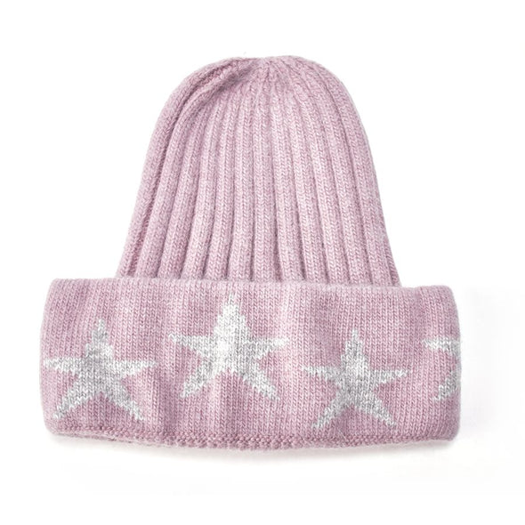 Star Woollen Ribbed Dusky Pink and Grey Star Hat