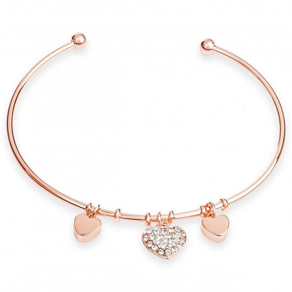 Triple Hearts -  Rose Gold Plated Bangle