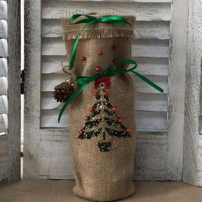 Hessian bottle bag with christmas tree design