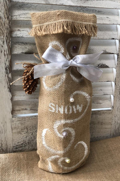 Hessian bottle bag with snow design