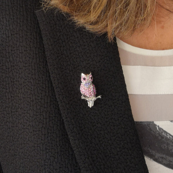 pink and purple crystal small owl brooch