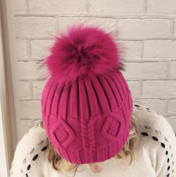 Pom Pom Diamond Woollen Bobble Hat Hot Pink