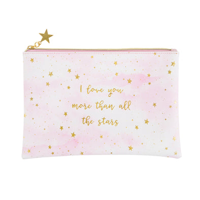 i love you more than all the stars pouch in pink and gold size 23.5cm x 16cm 100% pvc wipeable