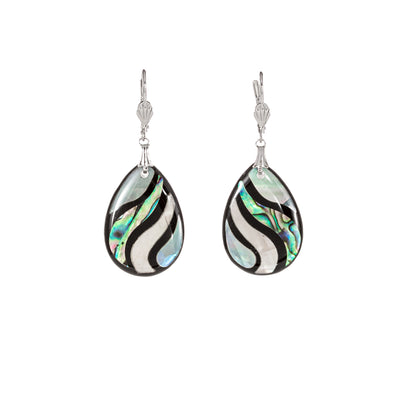 Beautiful Abalone Shell and Mother of Pearl Earrings Teardrop