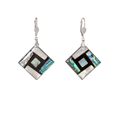 Abalone and mother of pearly square earrings
