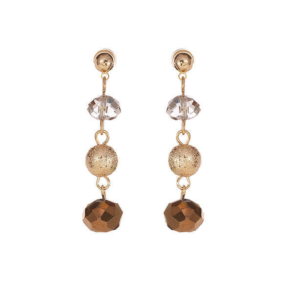 Gold Bronzze 3 ball drop earrings