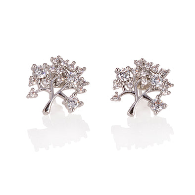 Pretty Tree of Life Silver Crystal Earrings